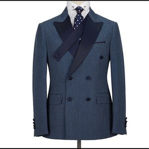 Men's 2 Piece Slim Fit navy double breasted Suit